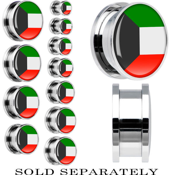 Kuwait Flag Stainless Steel Screw Fit Plug