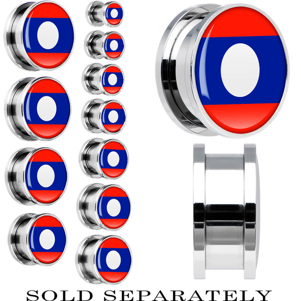 Laos Flag Stainless Steel Screw Fit Plug