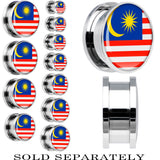 Malaysia Flag Stainless Steel Screw Fit Plug