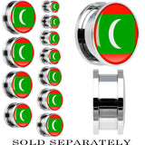 Maldives Flag Stainless Steel Screw Fit Plug