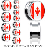 Canada Flag Stainless Steel Screw Fit Plug