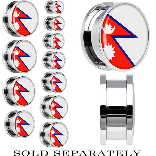 Nepal Flag Stainless Steel Screw Fit Plug