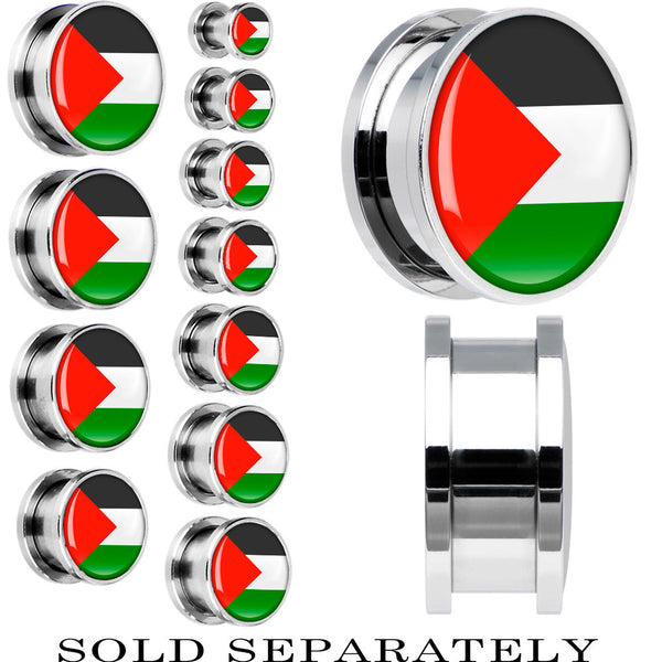 Palestine Flag Stainless Steel Screw Fit Plug
