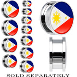 Phillippines Flag Stainless Steel Screw Fit Plug