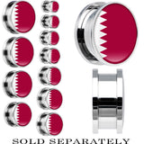 Qatar Flag Stainless Steel Screw Fit Plug