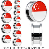 Singapore Flag Stainless Steel Screw Fit Plug