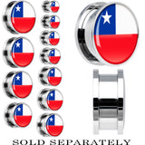 Chile Flag Stainless Steel Screw Fit Plug