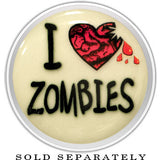 I Heart Zombies Glow in the Dark Screw Fit Plug in Stainless Steel