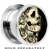 Katrina Sugar Skull Glow in the Dark Screw Fit Plug in Stainless Steel