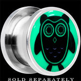 Wise Owl Glow in the Dark Screw Fit Plug in Stainless Steel