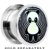 Happy Panda Glow in the Dark Screw Fit Plug in Stainless Steel