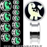 Cute Dinosaur Glow in the Dark Screw Fit Plug in Stainless Steel