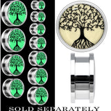 Tree of Life Glow in the Dark Screw Fit Plug in Stainless Steel