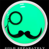 Monocle Mustache Glow in the Dark Screw Fit Plug in Stainless Steel
