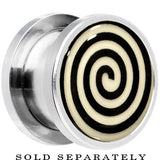 Hypnotic Swirl Glow in the Dark Screw Fit Plug in Stainless Steel