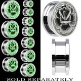 Arty Stippled Rose Glow in the Dark Screw Fit Plug in Stainless Steel