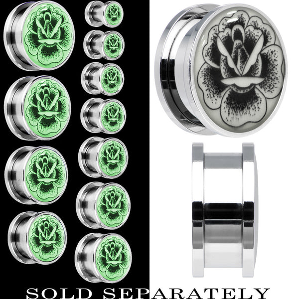 Arty Stippled Rose Flower Glow in the Dark Screw Fit Plug in Stainless Steel