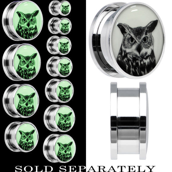 Arty Horned Owl Glow in the Dark Screw Fit Plug in Stainless Steel