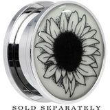 Arty Sunflower Glow in the Dark Screw Fit Plug in Stainless Steel