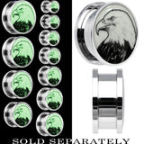 Arty Bald Eagle Glow in the Dark Screw Fit Plug in Stainless Steel