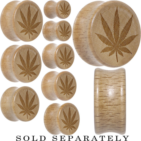 Full Ganja Leaf Saddle Plug in Organic Beech Wood