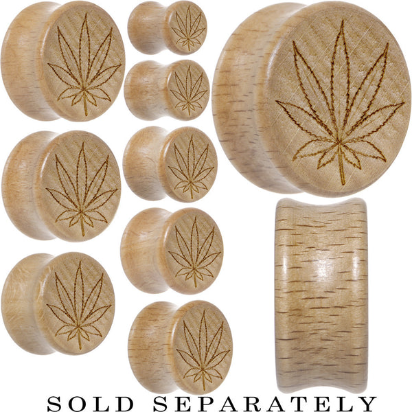 Outlined Ganja Leaf Saddle Plug in Organic Beech Wood