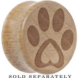 Pet Love Paw Print Saddle Plug in Organic Beech Wood