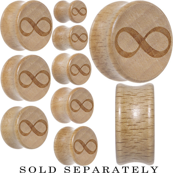 Infinity Symbol Saddle Plug in Organic Beech Wood