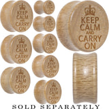 Keep Calm and Carry On Saddle Plug in Organic Beech Wood