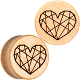 Organic Beechwood Geometric Heart Saddle Plug Set 0 Gauge to 25mm