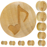 Organic Crocodile Wood Heart Music Note Plug