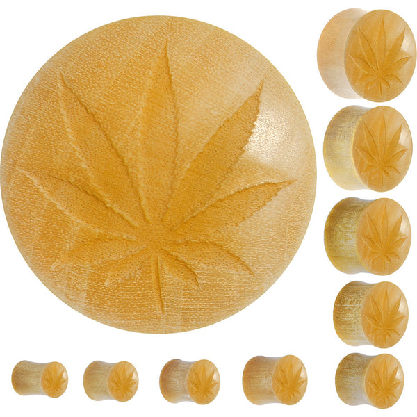 Organic Crocodile Wood Ganja Leaf Full Saddle Plug