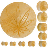 Organic Crocodile Wood Ganja Leaf Outline Saddle Plug