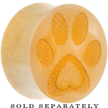 Organic Crocodile Wood Pet Love Paw Print Saddle Plug