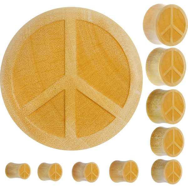 Organic Crocodile Wood Peace Sign Saddle Plug