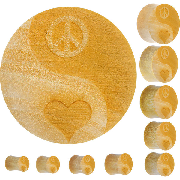 Organic Crocodile Wood Yin-Yang Peace-Love  Saddle Plug
