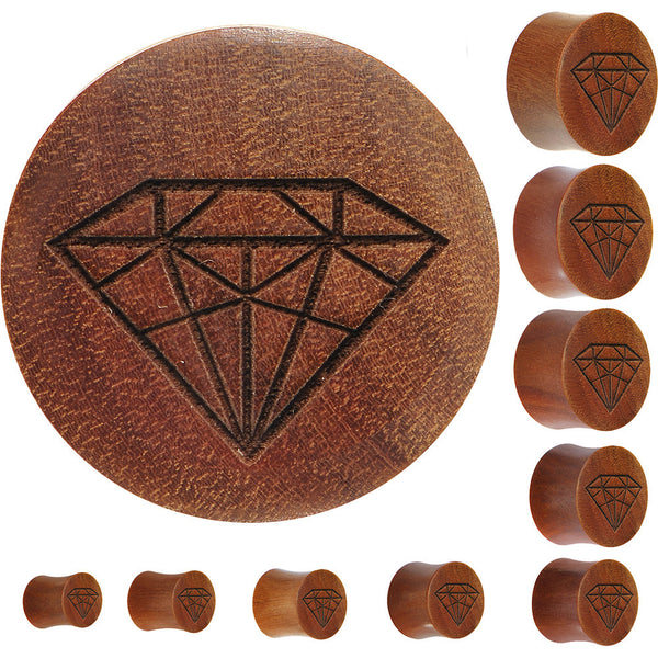 Organic Sawo Wood Diamond Shape Plug
