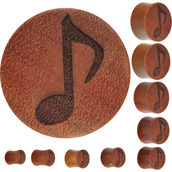 Organic Sawo Wood Music Note Plug