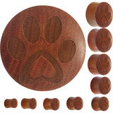 Organic Sawo Wood Pet Love Paw Print Saddle Plug