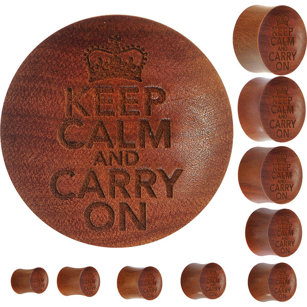Organic Sawo Wood Keep Calm and Carry on Saddle Plug