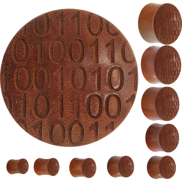 Organic Sawo Wood Binary Code Saddle Plug