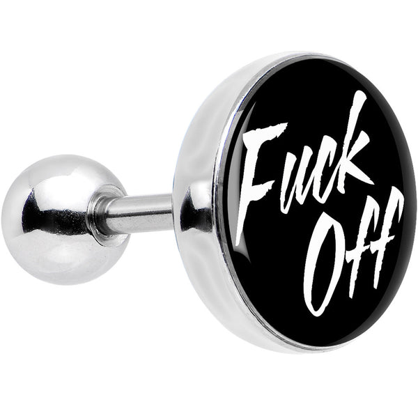 16 Gauge Black Fuck Off Tragus Cartilage Earring