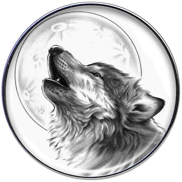 16 Gauge Black and White Howling Wolf Tragus Cartilage Earring