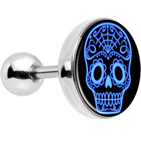16 Gauge Black and Blue Sugar Skull Tragus Cartilage Earring