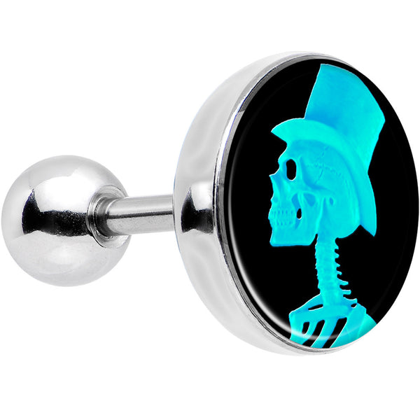 16 Gauge Aqua Skeleton with Top Hat Cameo Tragus Cartilage Earring