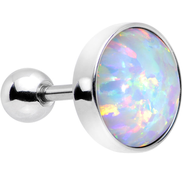 "16 Gauge 1/4"" White Synthetic Opal Steel Cartilage Tragus Earring"