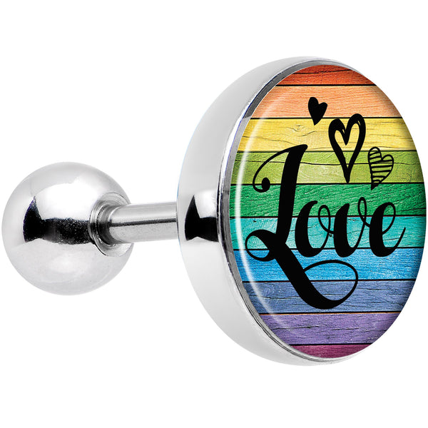 Rainbow Wooden Love Pride Flag Tragus Cartilage Earring
