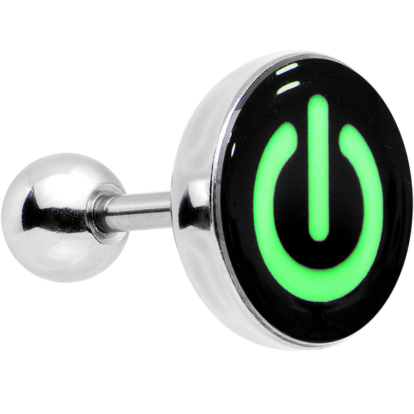 16 Gauge Power Button Glow in the Dark Tragus Cartilage Earring