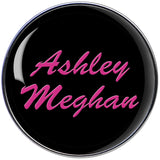 Custom Steel Pink on Black Logo Personalized Name Barbell Tongue Ring