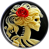 Stainless Steel Red Rose Flower Skeleton Cameo Barbell Tongue Ring